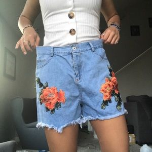 Pants - Blue Frayed Shorts w/ Red Embroidered Flowers